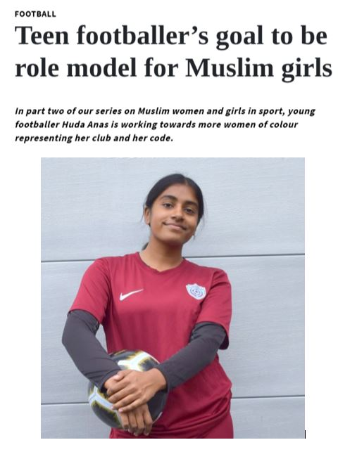 Teen footballer's goal to be role model for Muslim girls